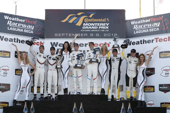 #912 Porsche Team North America Porsche 911 RSR, GTLM: Laurens Vanthoor, Earl Bamber, #25 BMW Team RLL BMW M8, GTLM: Alexander Sims, Connor de Phillippi, podium, #3 Corvette Racing Chevrolet Corvette C7.R, GTLM: Antonio Garcia, Jan Magnussen, podium