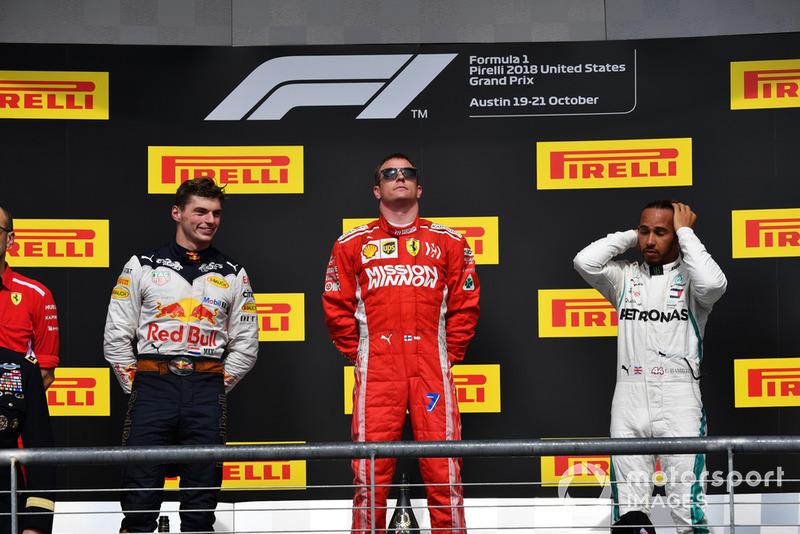USA - Podium : Kimi Räikkönen, Max Verstappen, Lewis Hamilton