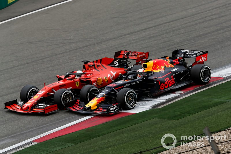 Sebastian Vettel, Ferrari SF90 and Max Verstappen, Red Bull Racing RB15 battle