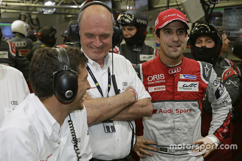 Loic Duval, Dr. Wolfgang Ullrich, Lucas di Grassi, Audi Sport Team Joest
