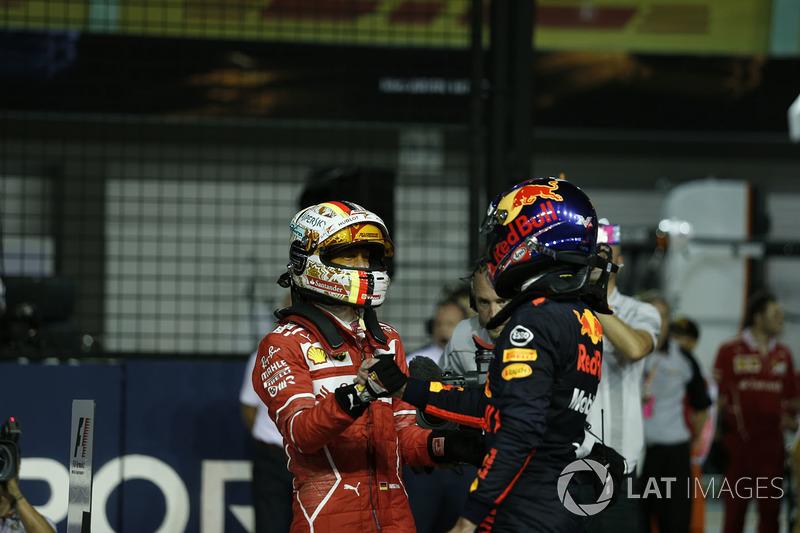 Polesitter Sebastian Vettel, Ferrari; 2. Max Verstappen, Red Bull Racing