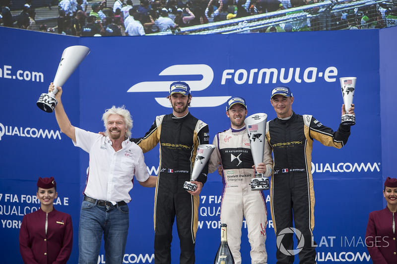 Richard Branson, Sam Bird, DS Virgin Racing, Jean-Eric Vergne, Techeetah, Stéphane Sarrazin, Techeetah