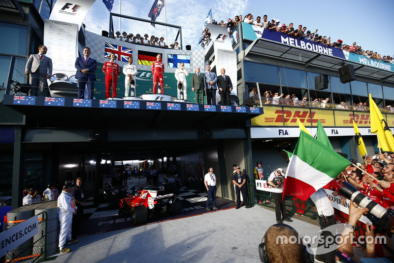 Luigi Fraboni, Ferrari, Lewis Hamilton, Mercedes AMG, Sebastian Vettel, Ferrari, Valtteri Bottas, M