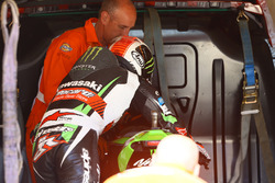 Jonathan Rea, Kawasaki Racing, loads his bike into recovery van