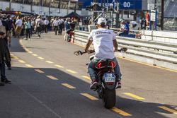 Lewis Hamilton, Mercedes AMG F1 on his MV Agusta Custom Dragster RR LH44 Superbike