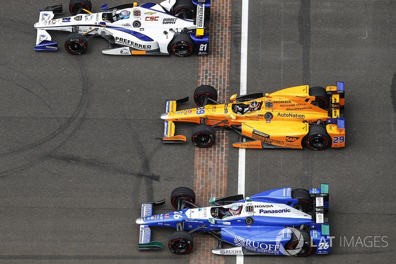J.R. Hildebrand, Ed Carpenter Racing Chevrolet, Fernando Alonso, Andretti Autosport Honda, Takuma Sa