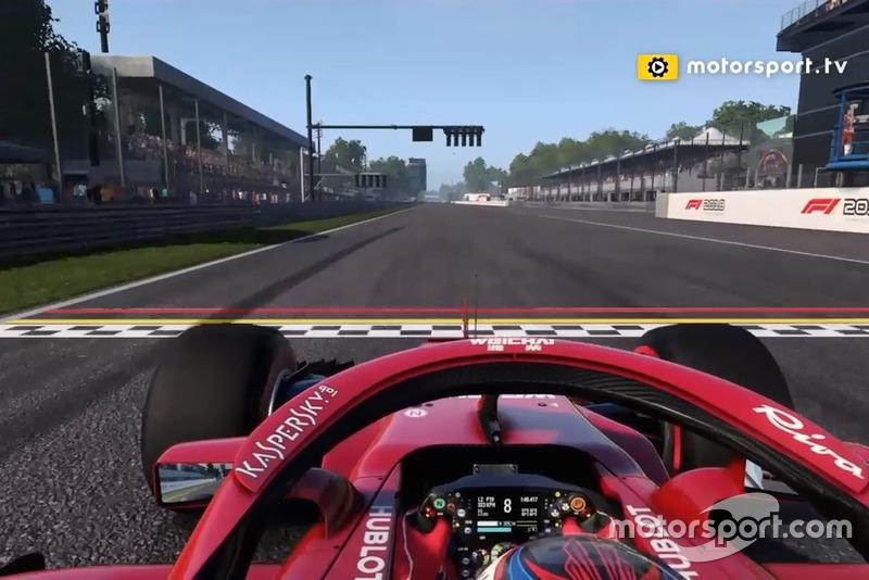 Ini lurusan yang sangat panjang tapi dengan [mobil] F1 dilalui dengan cepat dan kemudian pengereman keras menuju tikungan pertama, chicane yang sempit.