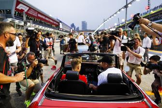 Sebastian Vettel, Ferrari, on the drivers' parade