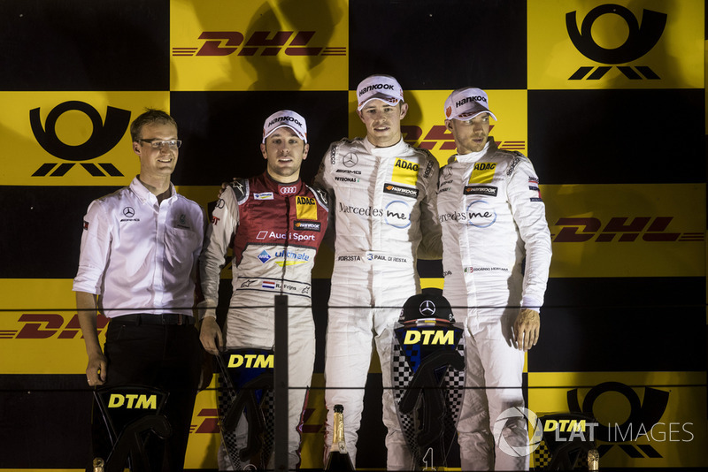 Podium: Race winner Paul Di Resta, Mercedes-AMG Team HWA, Mercedes-AMG C63 DTM, second place Robin Frijns, Audi Sport Team Abt Sportsline, Audi RS5 DTM and third place Edoardo Mortara, Mercedes-AMG Team HWA, Mercedes-AMG C63 DTM