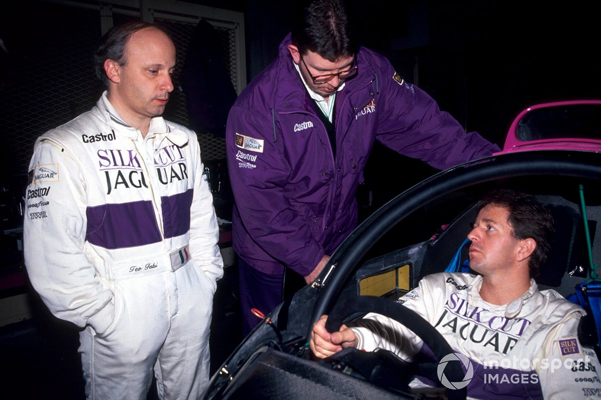Ross Brawn, Jaguar co-designer, with Jaguar team mates Teo Fabi and Martin Brundle