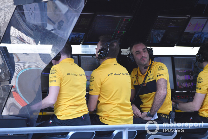 Cyril Abiteboul, Renault Sport F1 Managing Director on the pit wall gantry