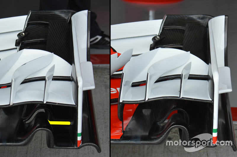Ferrari SF16-H, differing front wing configurations