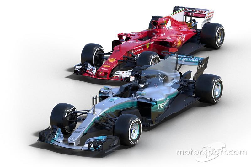 Mercedes F1 W08 und Ferrari SF70H