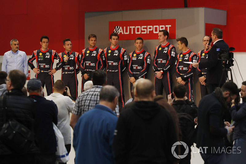 Hyundai drivers on the on the Autosport Stage