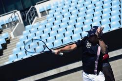 Sergio Perez, Force India plays tennis at Melbourne Park