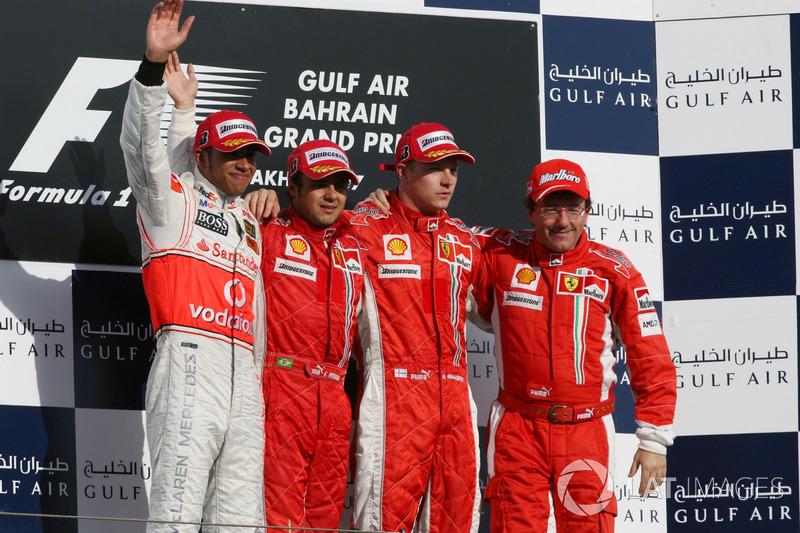 2007: 1. Felipe Massa, 2. Lewis Hamilton, 3. Kimi Räikkönen