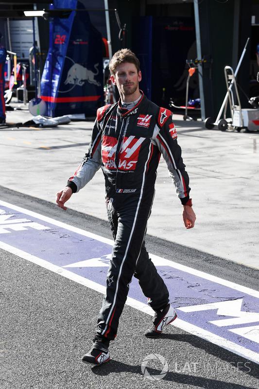 Race retiree Romain Grosjean, Haas F1