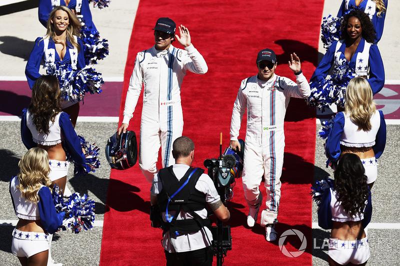 Lance Stroll, Williams, Felipe Massa, Williams, en el desfile de pilotos