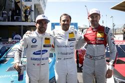 Top 3 tras la clasificación: Pole position para Gary Paffett, Mercedes-AMG Team HWA, Philipp Eng, BMW Team RBM, René Rast, Audi Sport Team Rosberg