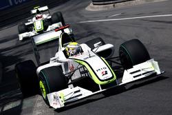 Jenson Button, Brawn Grand Prix BGP 001 leads Rubens Barrichello, Brawn Grand Prix BGP 001