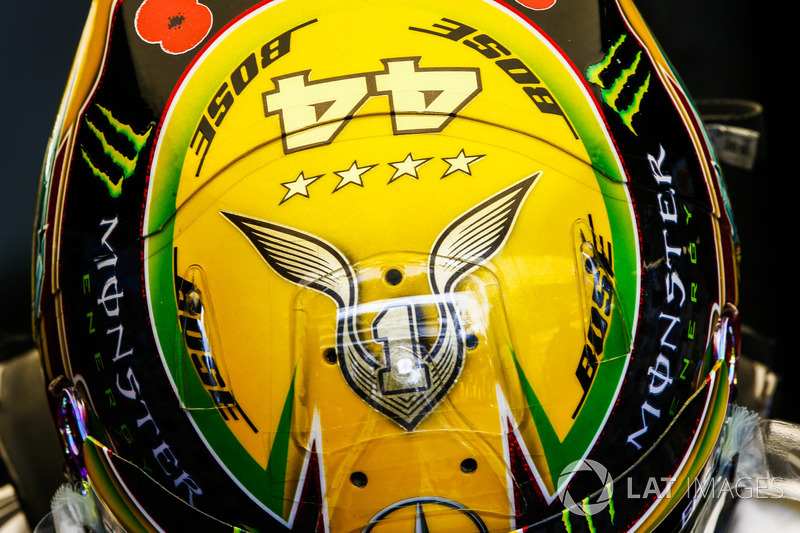 The helmet of Lewis Hamilton, Mercedes AMG F1, celebrating his fourth world drivers championship title