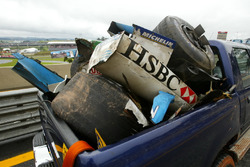 Debris from the Jaguar Racing Car of Mark Webber and the Renault F1 Team of Fernando Alonso caused by the accidents