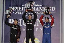 Second place Robert Wickens, Schmidt Peterson Motorsports Honda, winner Josef Newgarden, Team Penske Chevrolet, third place Alexander Rossi, Andretti Autosport Honda, podium