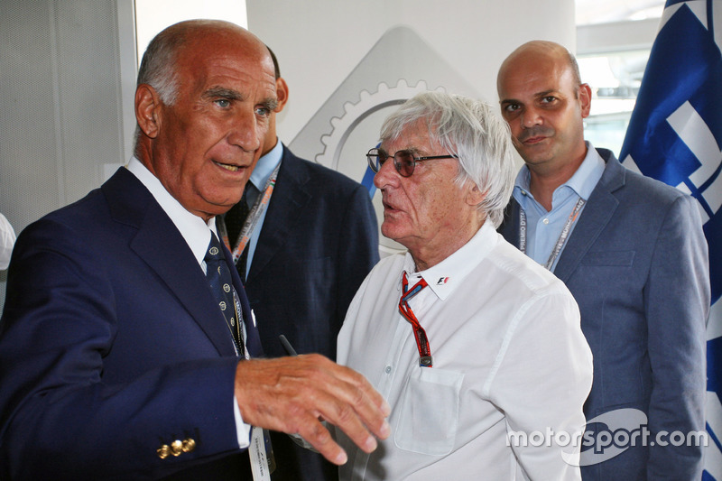 (Da sx a dx): Dr. Angelo Sticchi Damiani, Presidente ACI CSAI con Bernie Ecclestone all'annuncio al