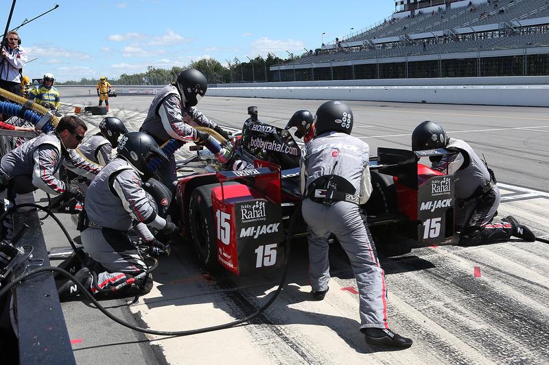Pit stop di Graham Rahal, Rahal Letterman Lanigan Racing Honda,