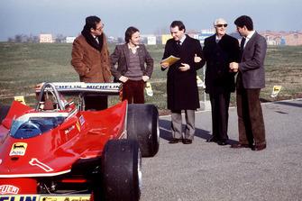Maranello 1980, Mauro Forghieri, Gilles Villeneuve, Marco Piccinini, Jody Scheckter for the presentation of the Ferrari T5