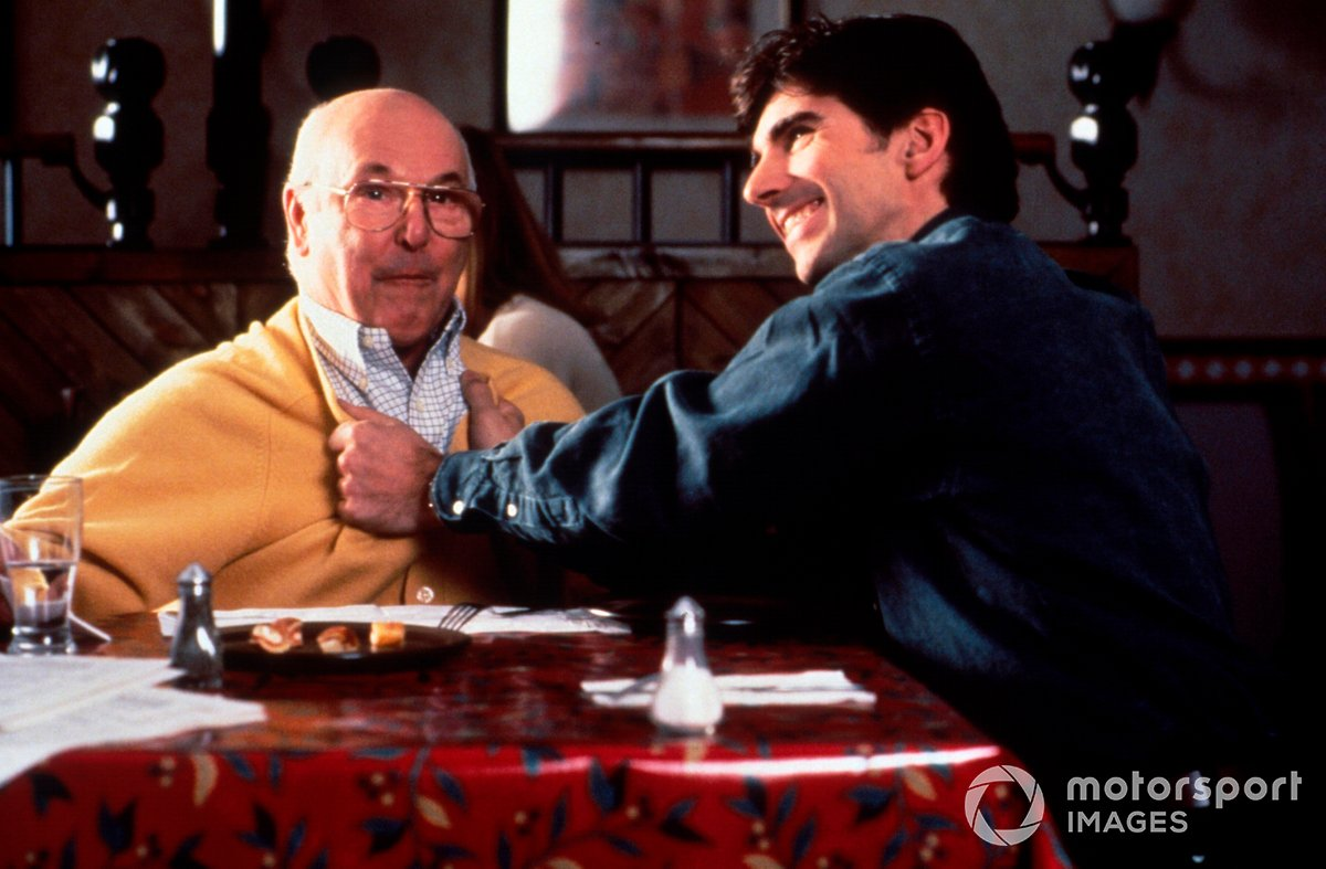 British TV Presenter Murray Walker and Damon Hill, right, as seen during a Pizza Hut Commercial