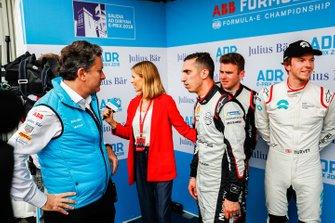 Alejandro Agag, CEO, Formula E with TV Presenter Nicki Shields, Sébastien Buemi, Nissan e.Dams, Oliver Rowland, Nissan e.Dams, Oliver Turvey, NIO Formula E Team