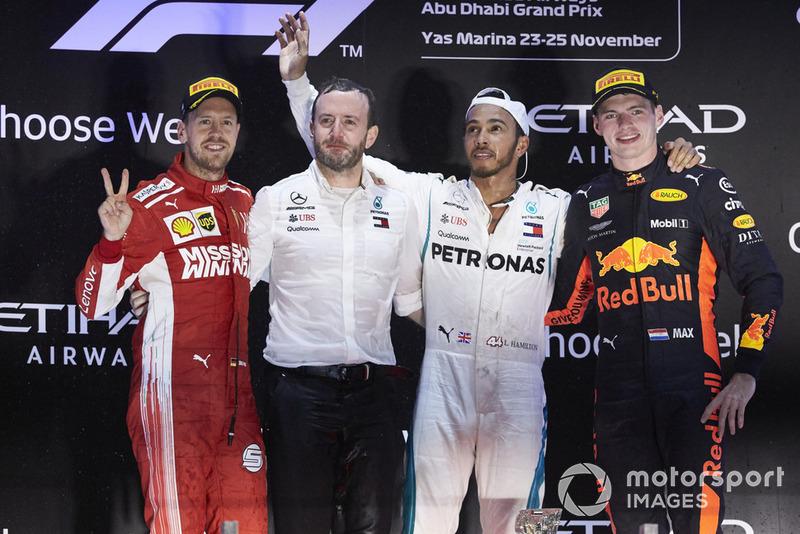 GP de Abu Dhabi: 1º Hamilton, 2º Vettel, 3º Verstappen