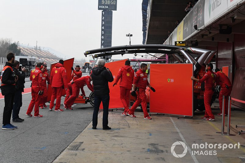 Sebastian Vettel, Ferrari SF90, returns to the pits