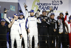 LMGTE Am Podium: second place #78 KCMG Porsche 911 RSR: Christian Ried, Wolf Henzler, Joël Camathias, first place #88 Proton Racing Porsche 911 RSR: Khaled Al Qubaisi, David Heinemeier Hansson, Patrick Long