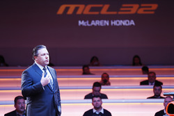 Zak Brown, Executive Director of McLaren Technology Group, on stage at the launch of the McLaren MCL32