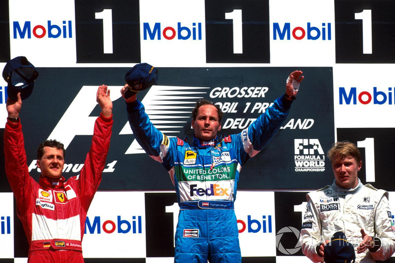 O austríaco provou que era durão, e logo na volta cravou a pole position, a volta mais rápida e venceu o GP em Hockenheim. Foi a última vitória da Benetton na F1.