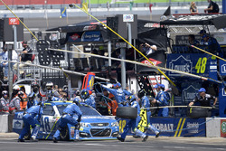 Jimmie Johnson, Hendrick Motorsports Chevrolet, makes a pit stop