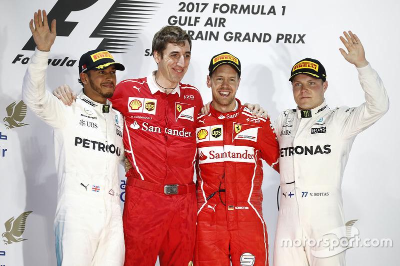 Podium: winner Sebastian Vettel, Ferrari, second place Lewis Hamilton, Mercedes AMG F1, third place Valtteri Bottas, Mercedes AMG F1, Matteo Togninalli, Chief Race Engineer, Ferrari