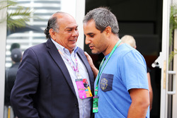 (L to R): Antonio Perez, father of Sergio Perez, Sahara Force India F1 Team with Juan Pablo Montoya