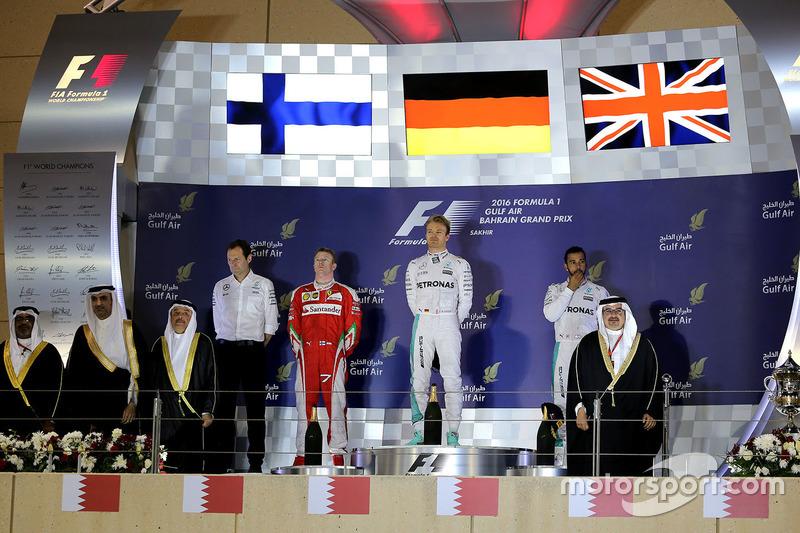 Podium: Sieger Nico Rosberg, Mercedes AMG F1 Team; 2. Kimi Räikkönen, Ferrari; 3. Lewis Hamilton, Mercedes AMG F1 Team