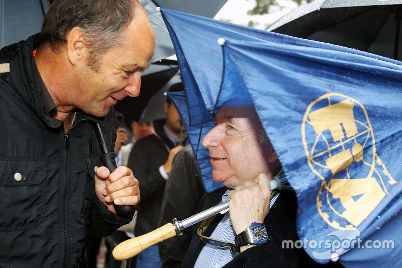 (L to R): Gerhard Berger, with Jean Todt, FIA President on the grid