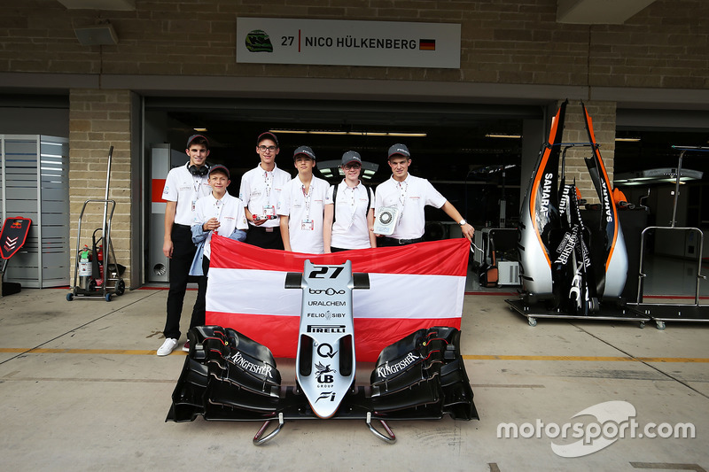 The F1 in Schools Outstanding Sportsmanship Award winners - Austrian entry Airy Eagles, with the Sahara Force India F1 Team