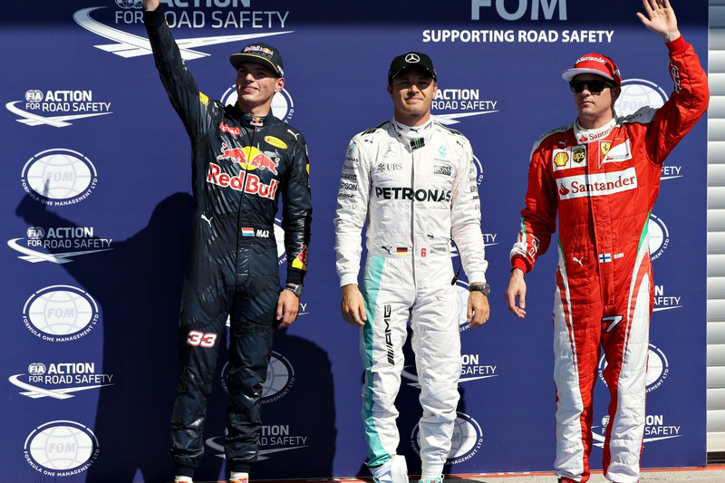 Top three qualifiers, Nico Rosberg, Mercedes AMG F1; Max Verstappen, Red Bull Racing and Kimi Raikkonen, Ferrari
