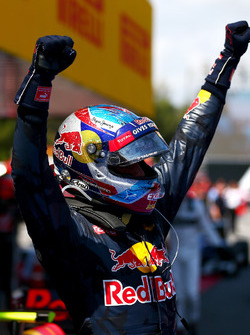 Max Verstappen, Red Bull Racing celebrates his first F1 win in parc ferme