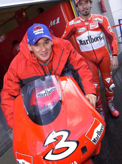 Motocross ace Stefan Everts with Max Biaggi, Yamaha Team