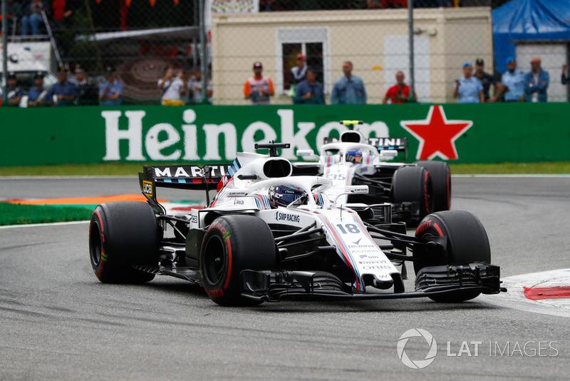 Lance Stroll, Williams FW41, y Sergey Sirotkin, Williams FW41