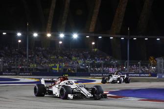 Charles Leclerc, Sauber C37, leads Marcus Ericsson, Sauber C37