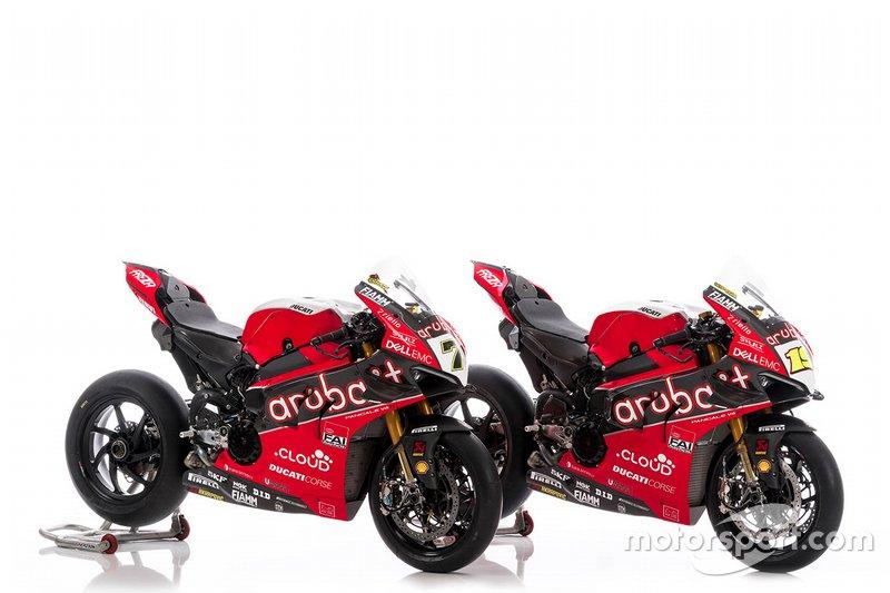 Bikes von Chaz Davies, Aruba.it Racing-Ducati SBK Team, und Alvaro Bautista, Aruba.it Racing-Ducati SBK Team, für die Superbike-WM 2019