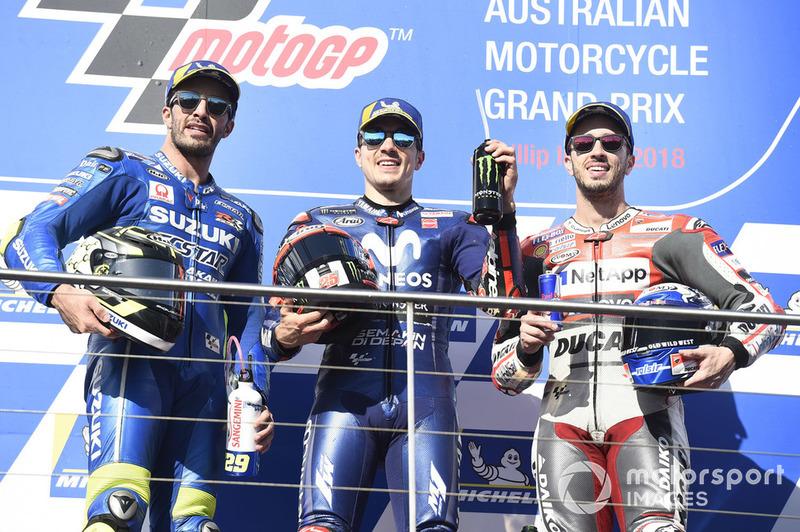 (Ki-ka): Andrea Iannone, Team Suzuki MotoGP, Maverick Viñales, Yamaha Factory Racing, Andrea Dovizioso, Ducati Team
